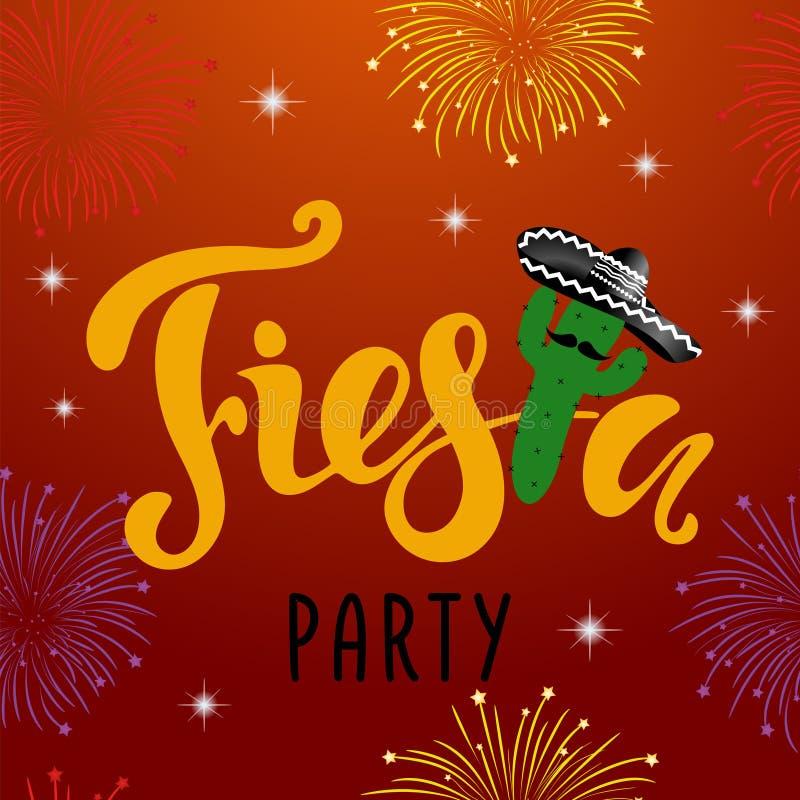Convite mexicano do partido da festa com fogo de artifício, cacto e sombrio ilustração do vetor