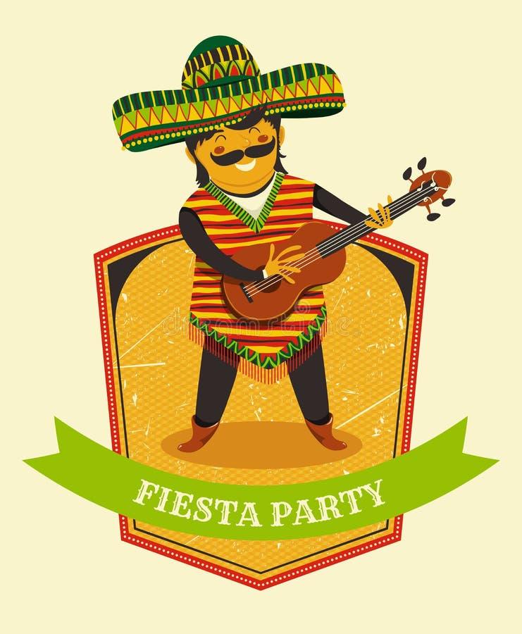 Convite mexicano do partido da festa com o homem mexicano que joga a guitarra em um sombreiro Cartaz tirado mão da ilustração do  ilustração stock