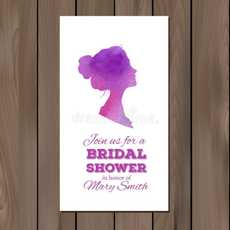 Convite nupcial do chuveiro com elementos da aquarela ilustração stock