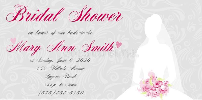 Convite nupcial do chuveiro com silhueta das noivas ilustração royalty free