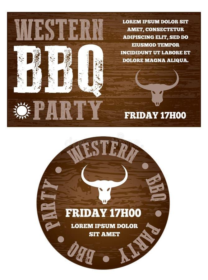 Convite ocidental do partido do BBQ ilustração royalty free