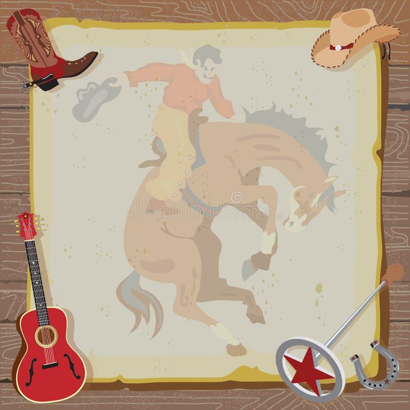 Convite ocidental do partido do cowboy do rodeio ilustração do vetor