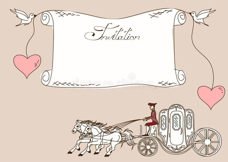 Convite ou cartão com transporte do cavalo ilustração stock