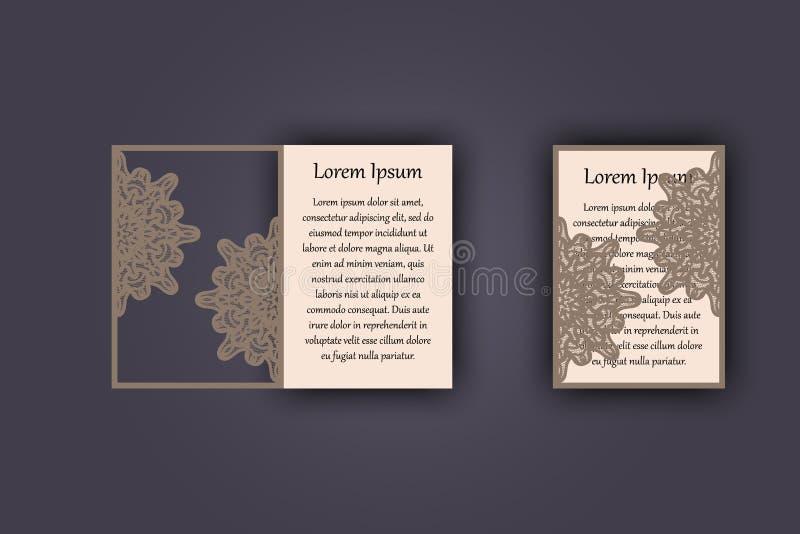 Convite ou cartão do casamento com o ornamento do laço do vintage Modelo para o corte do laser Ilustração do vetor ilustração stock