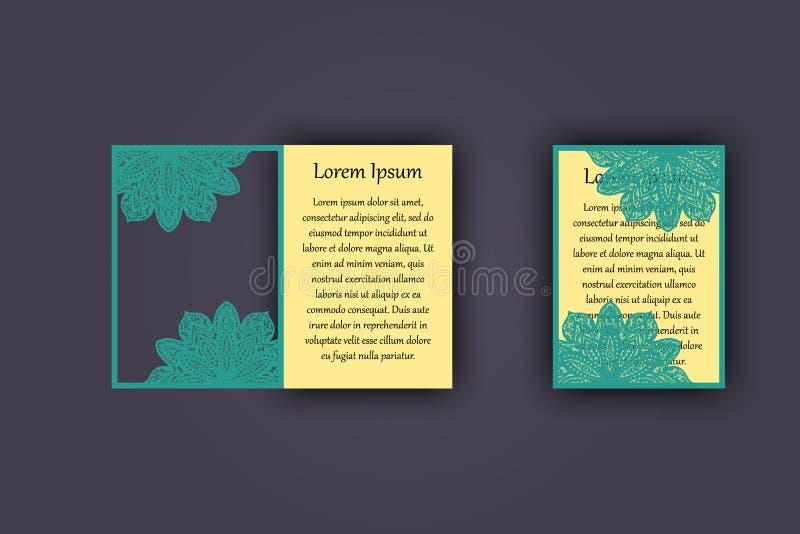 Convite ou cartão do casamento com o ornamento do laço do vintage Modelo para o corte do laser Ilustração do vetor ilustração royalty free
