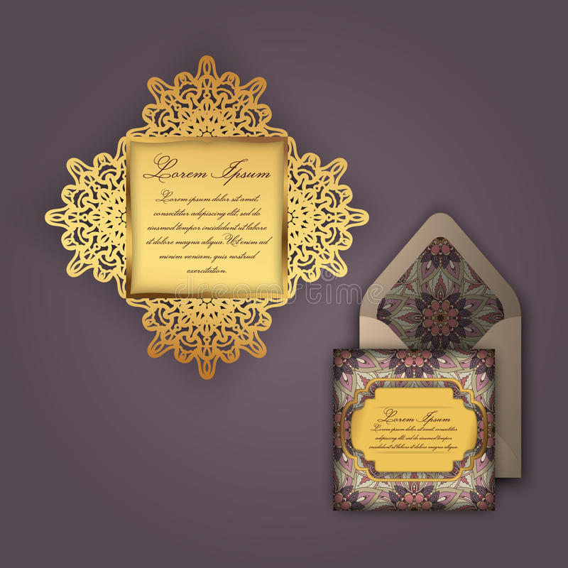 Convite ou cartão do casamento com o ornamento floral do vintage Molde de papel do envelope do laço, modelo para o corte do laser ilustração royalty free