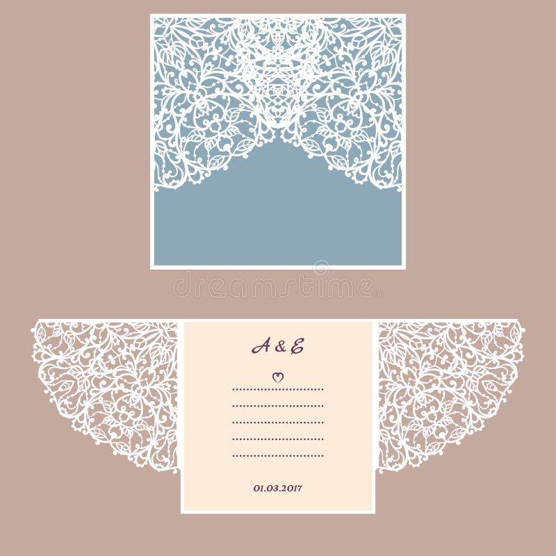 Convite ou cartão do casamento com ornamento abstrato Molde do envelope do vetor para o corte do laser Cartão do corte do papel ilustração do vetor