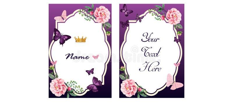 Convite ou cartão em tons roxos fotos de stock