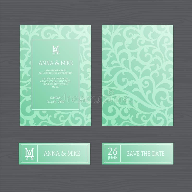 Convite ou cartão luxuoso do casamento com vintage o floral ilustração royalty free