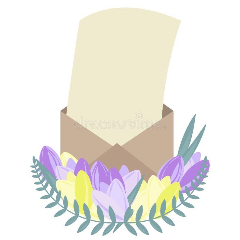 Convite ou letra em um envelope aberto decorado com flowerin ilustração do vetor