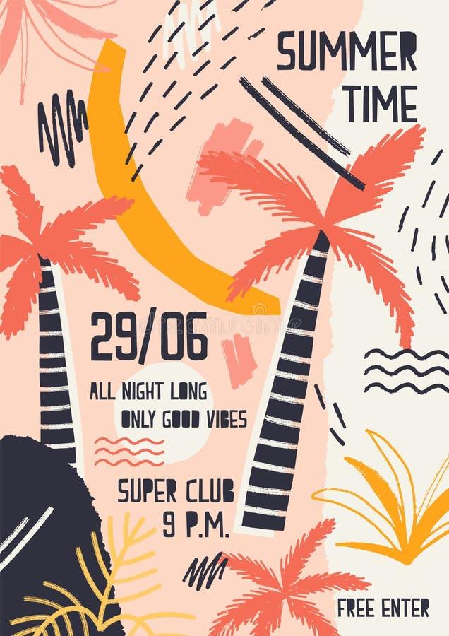Convite ou molde colorido brilhante do cartaz decorado com plantas da selva, as palmeiras exóticas, as manchas da pintura e o gar ilustração stock