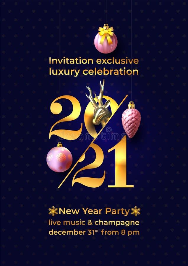 Convite para comemoração do Ano Novo Números de ouro 2021 Elegance New Year 2021 saudando a arte do cartão, modelo de design de b ilustração royalty free