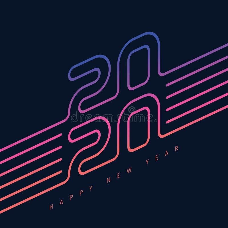Convite para a festa de 2020. Cobertura moderna do calendário com inscrição original 20 20. Modelo do cartaz. Gradação neon ilustração do vetor