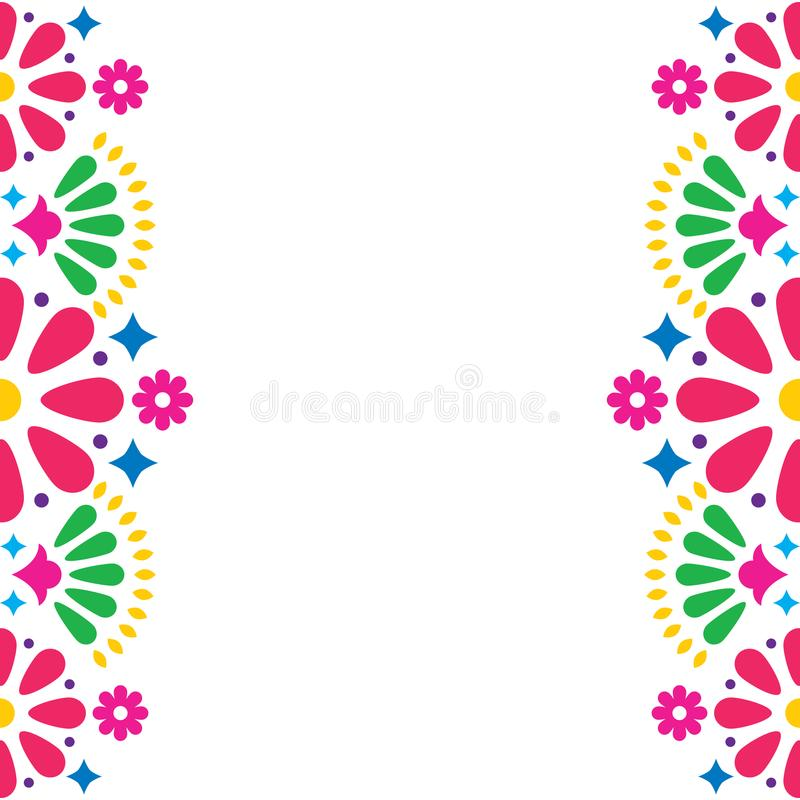 Convite popular mexicano do casamento ou do partido, cartão, projeto colorido do quadro com flores ilustração royalty free