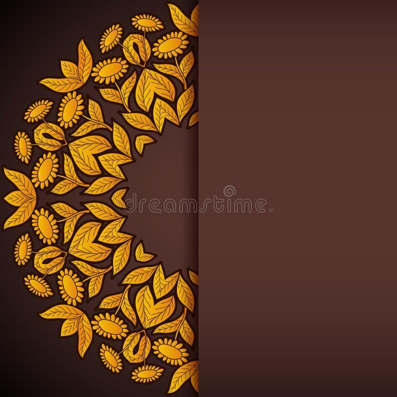 Convite redondo do ouro e dos girassóis marrons ilustração stock