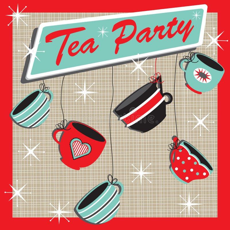 Convite retro do partido de chá ilustração royalty free
