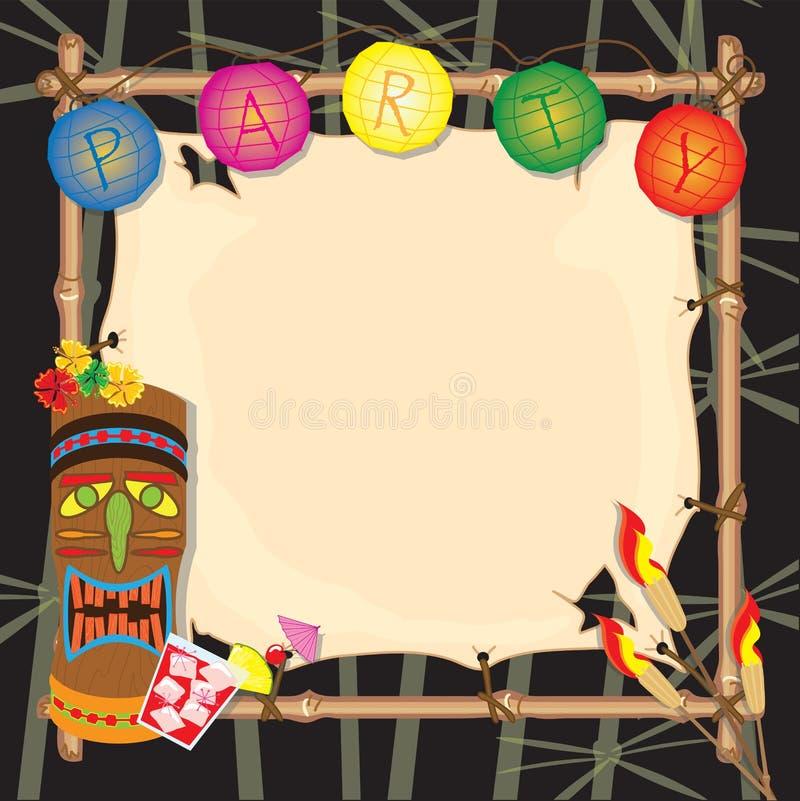 Convite retro tropical do partido do tiki ou do luau ilustração stock