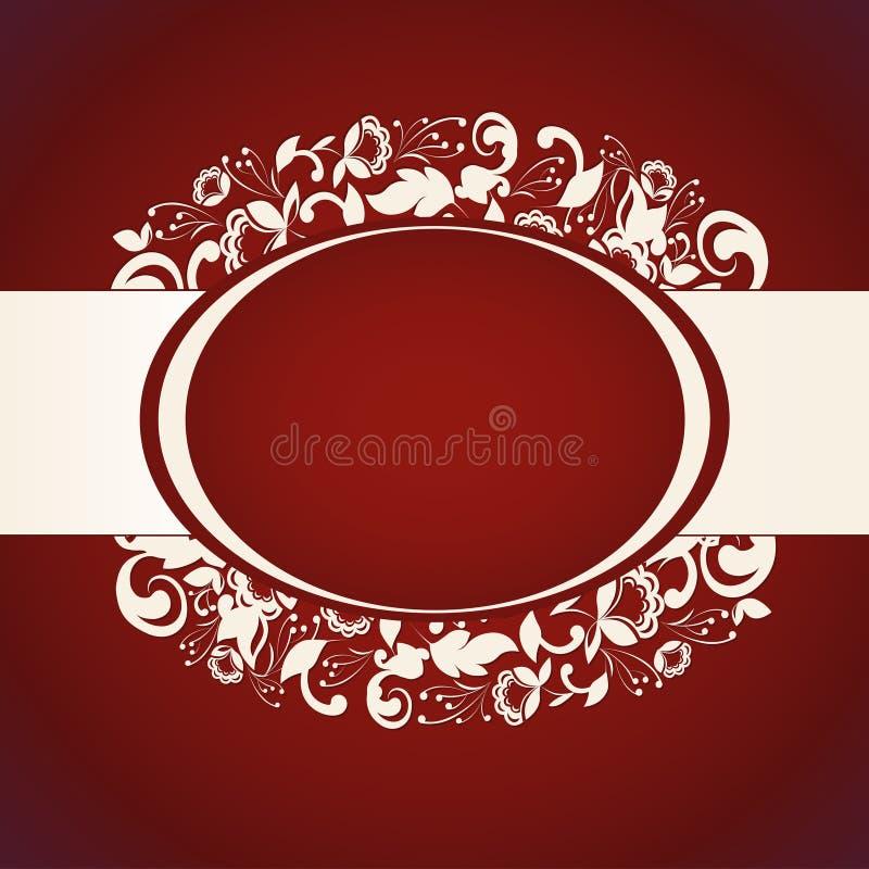Convite vermelho com fundo floral abstrato ilustração do vetor
