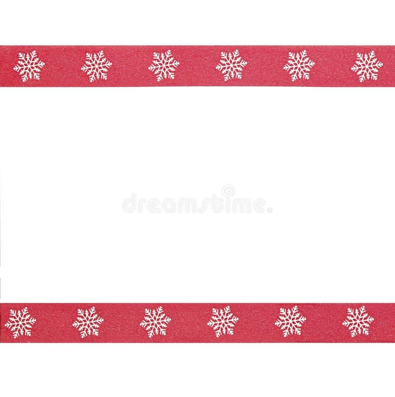 Convite vermelho do quadro do tema do inverno da beira do floco de neve fotos de stock