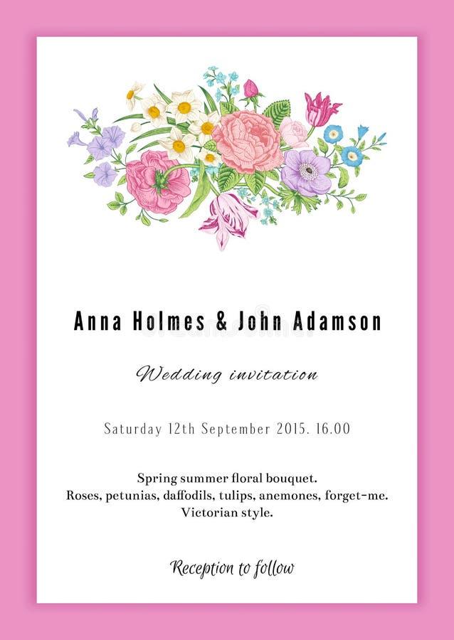 Convite vertical do casamento do vintage do vetor ilustração royalty free