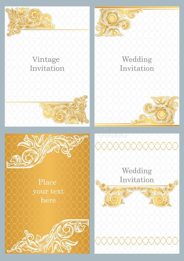 Convites decorativos do casamento do estilo do vintage ilustração stock