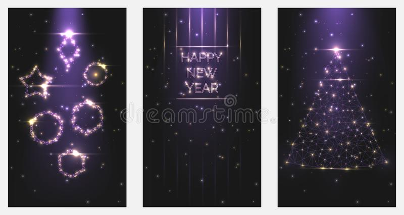Convites do cartaz do ano novo feliz da ilustração do vetor Ajuste das árvores de Natal e dos quadros dos brinquedos da luz brilh ilustração royalty free