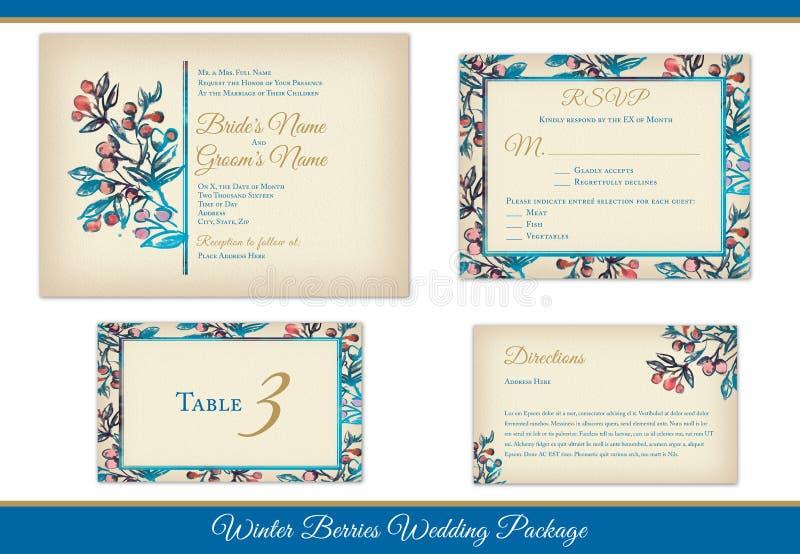 Convites do casamento das bagas do inverno ajustados foto de stock royalty free