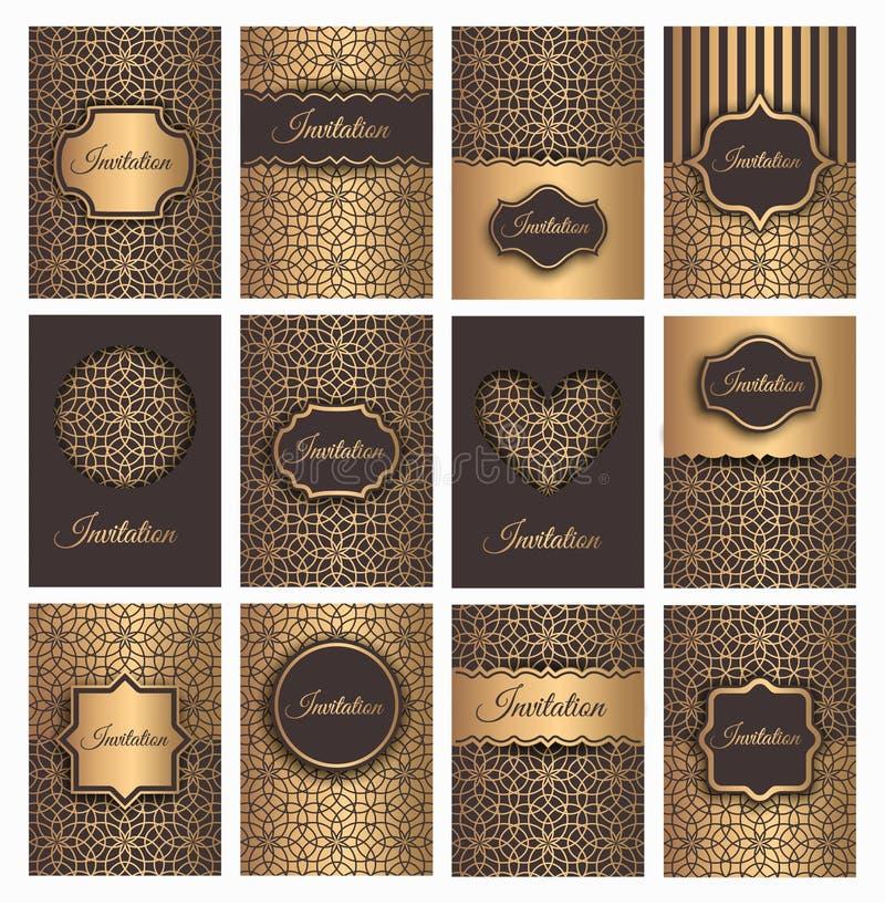Convites dourados do vetor ajustados ilustração royalty free