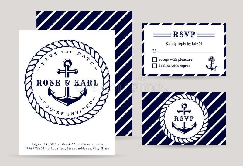 Convites náuticos do casamento ilustração royalty free
