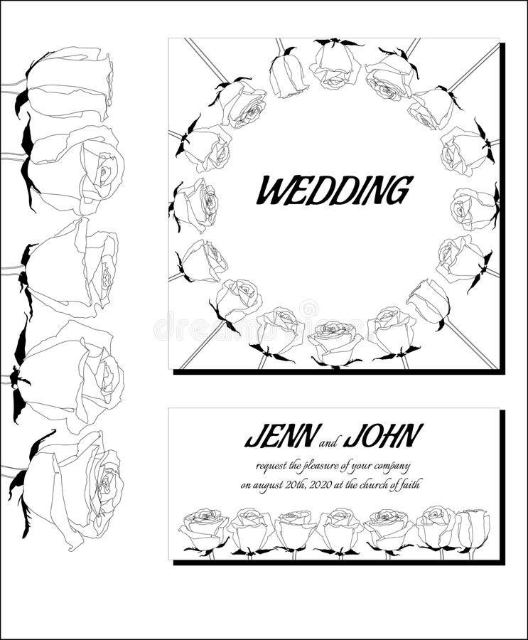 Convites preto e branco gráficos do casamento foto de stock royalty free
