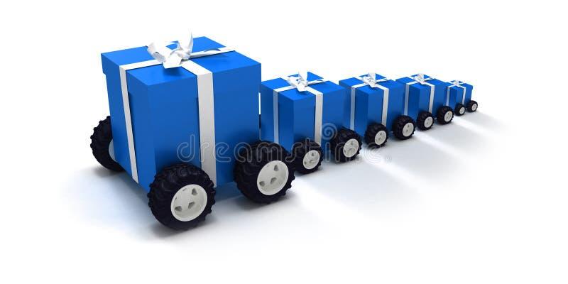 Convoi bleu de cadeau illustration stock