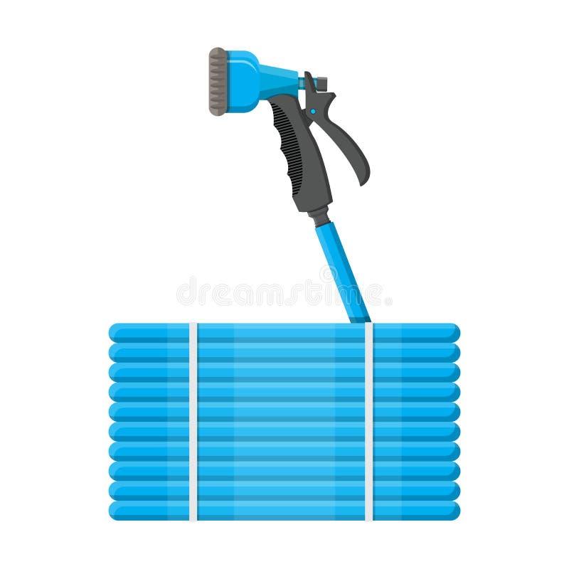 Convoluted garden hose. Watering hosepipe gun. vector illustration