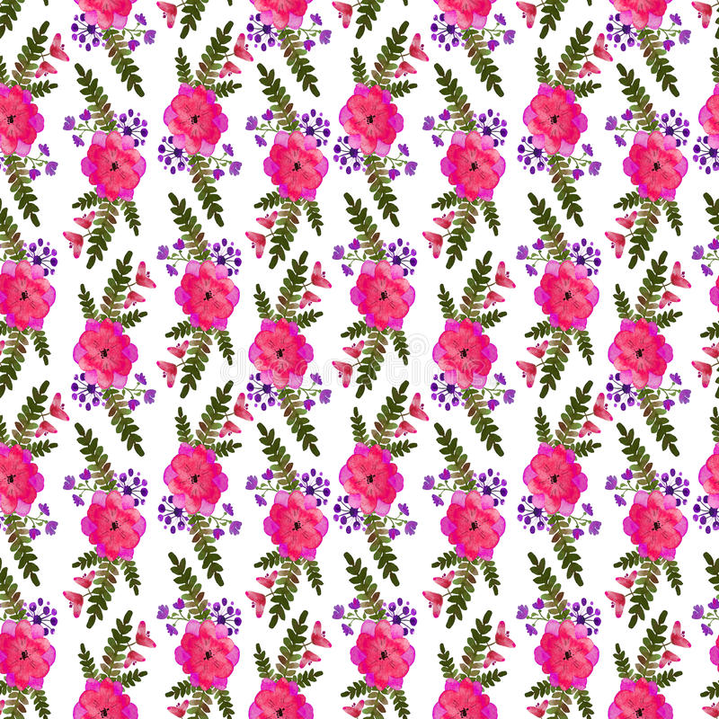 Convolvolo rosa del fiore Ripetizione del reticolo floreale Stampa senza fine del giardino della foresta dell'acquerello L'annata illustrazione vettoriale