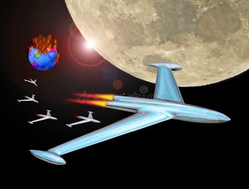 Convoy de la flota del cohete del jet en el espacio que sale de la tierra ardiente fotos de archivo libres de regalías