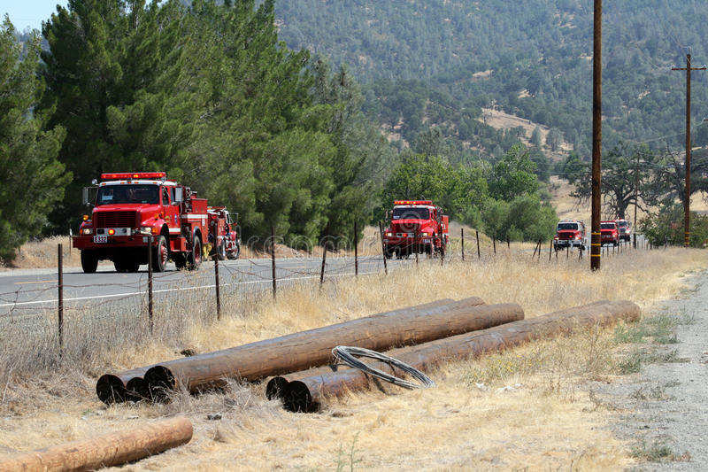 Download Convoy Of Fire Engines Heads To Fire Area Stock Photo - Image: 61819274