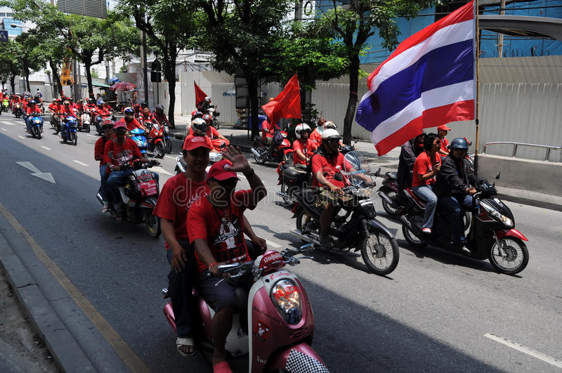 Download Convoy Of Thai Red Shirt Protesters On Motorbikes Editorial Stock Photo - Image: 19662983