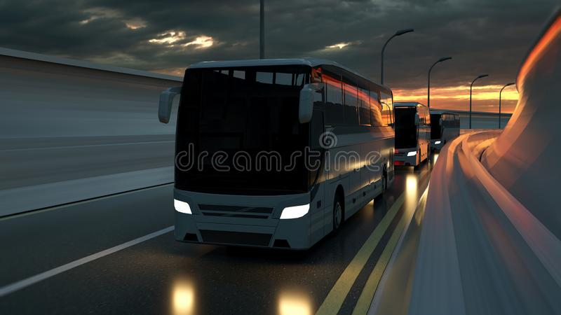 A convoy of three white buses drive on a highway at sunset backlit by a bright orange sunburst under an ominous cloudy sky. 3d. Rendering royalty free illustration