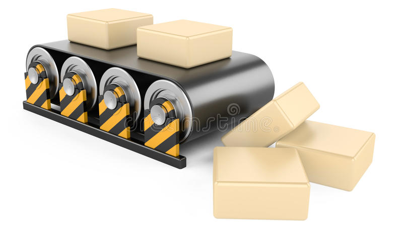 Convoyeur avec des boîtes. illustration stock
