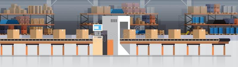 Convoyeur d'entrepôt de fabrication, chaîne de production moderne d'Assemblée production industrielle de convoyeur illustration de vecteur