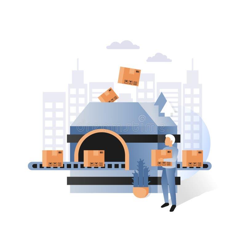 Convoyeur d'usine avec l'illustration de vecteur de boîtes en carton illustration stock