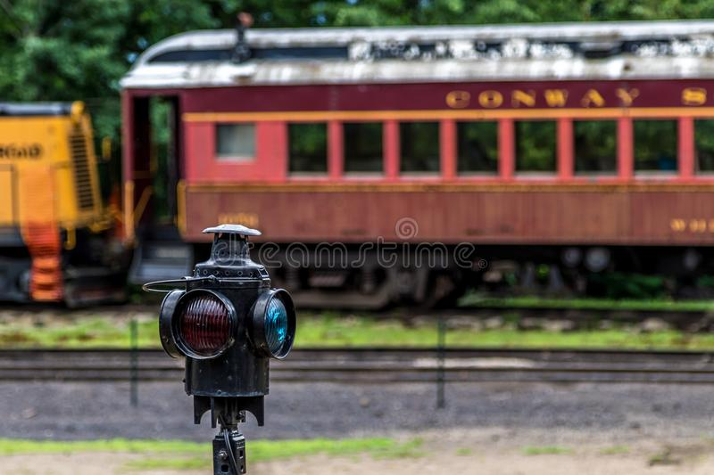 Conway Scenic Railroad, North Conway. The Conway Scenic Railroad is a heritage railway in North Conway, New Hampshire, United States stock photography