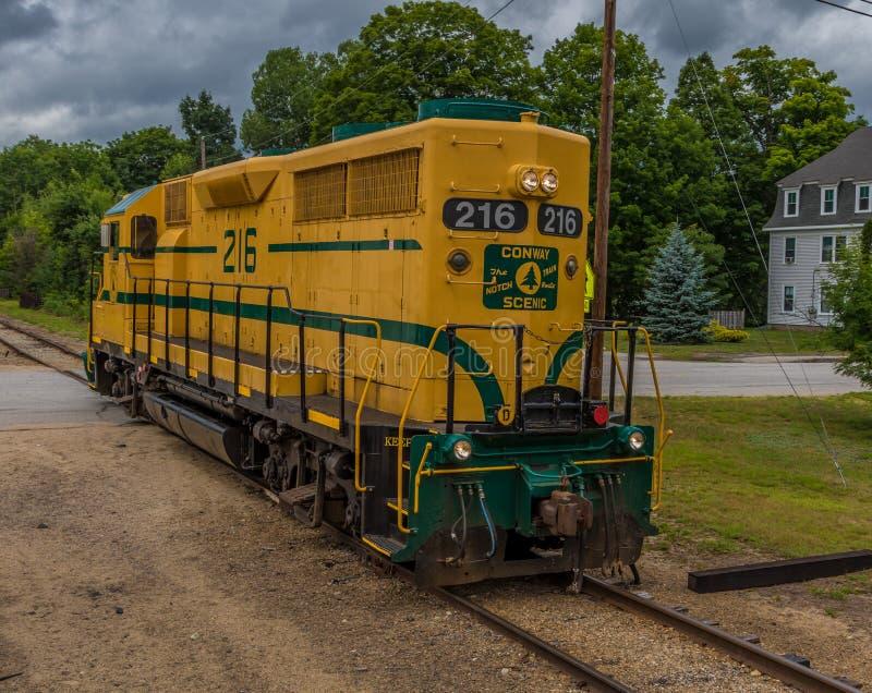 Conway Scenic Railroad norr Conway royaltyfria foton