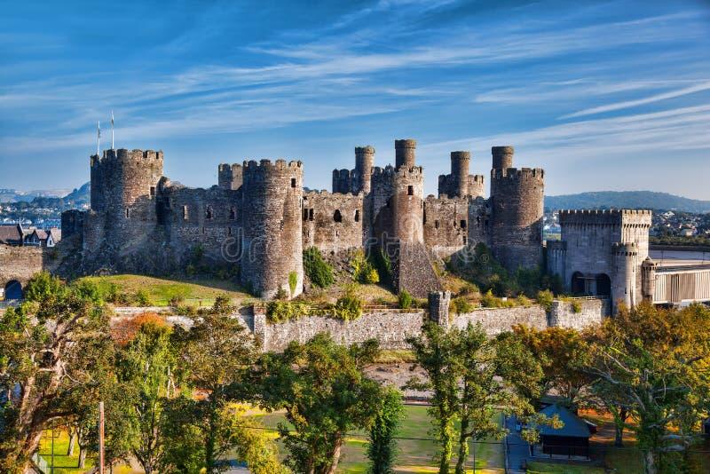 Conwy城堡在威尔士,英国, Walesh系列防御 免版税库存图片