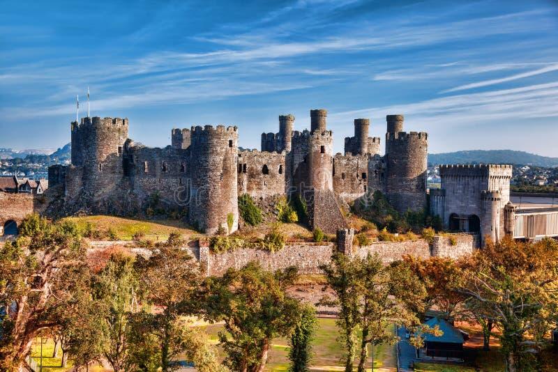 Conwy城堡在威尔士,英国, Walesh系列防御 图库摄影