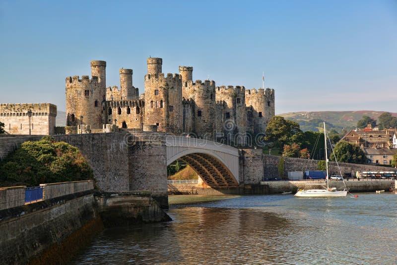 Conwy城堡在威尔士,英国, Walesh系列防御 免版税图库摄影