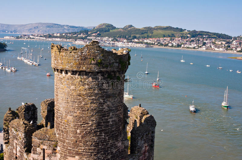 Conwy River and Castle in Wales, UK royalty free stock images