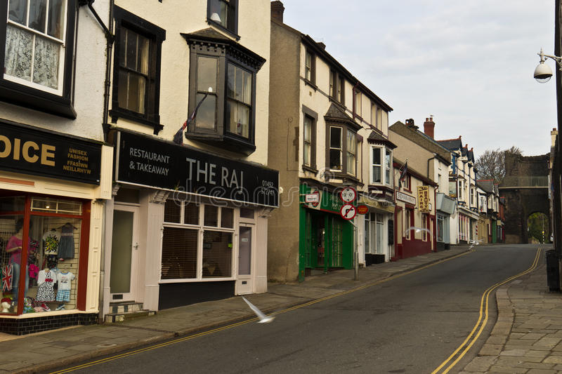 CONWY/WALES - April 20, 2014: Typical street scene in idyllic to royalty free stock photos
