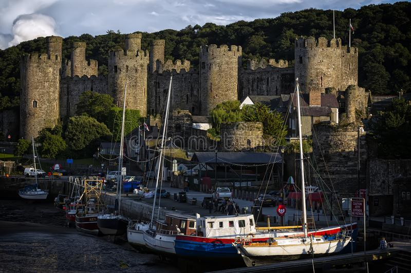 Conwy, Wales, United Kingdom - August 16, 2019: World heritage Conway castle in Wales in late afternoon royalty free stock photos
