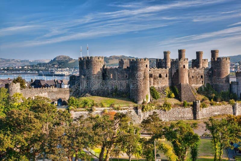 Conwykasteel in Wales, het Verenigd Koninkrijk, reeks Walesh-kastelen royalty-vrije stock afbeelding
