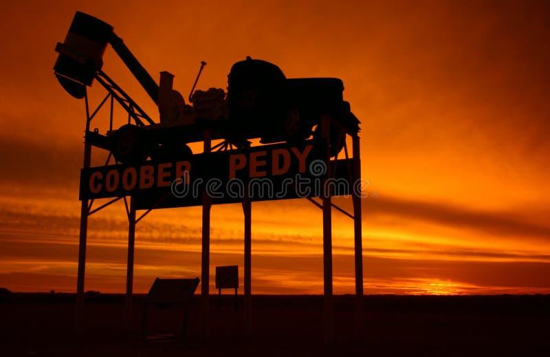 Coober Pedy - signe de nom de lieu images libres de droits